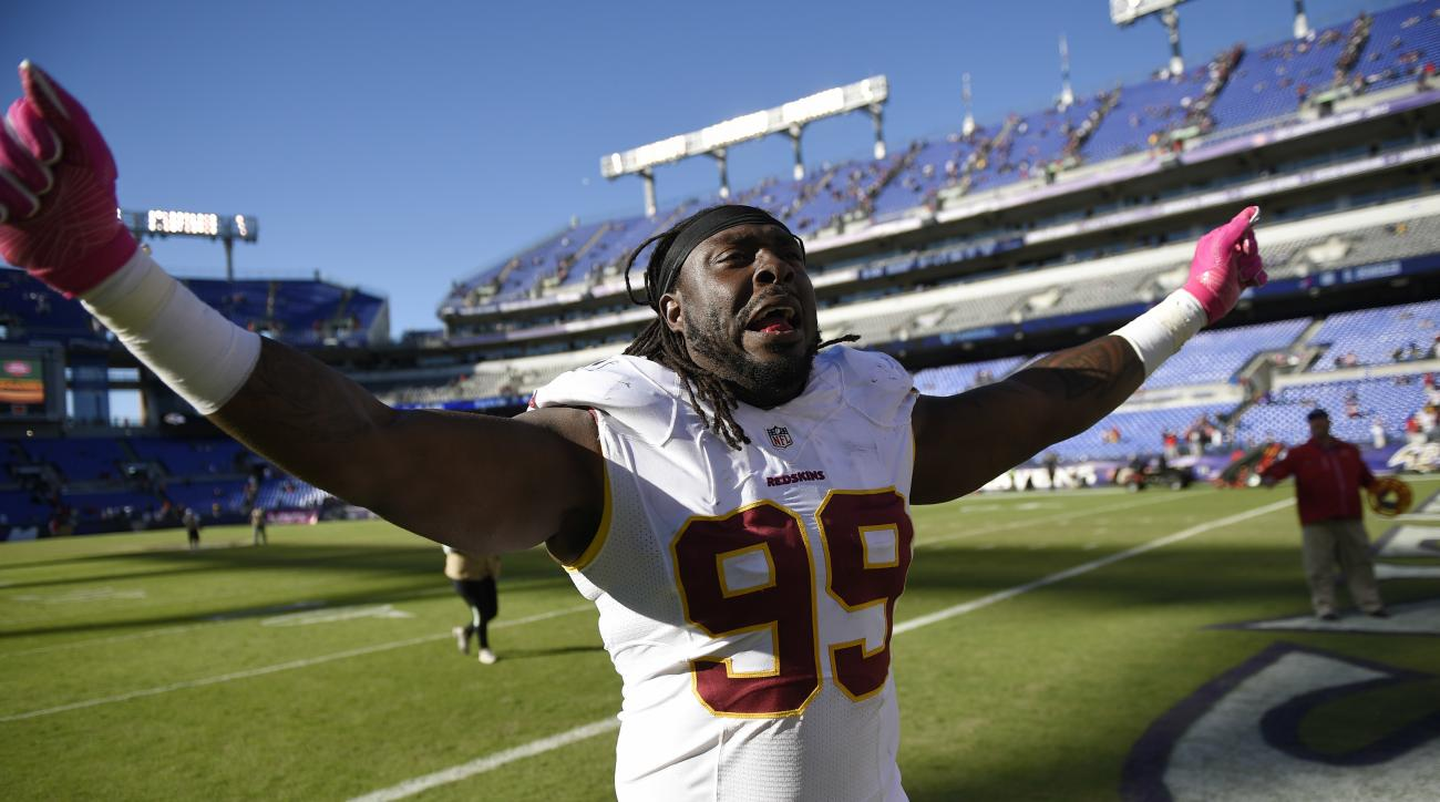 Washington Redskins' Ricky Jean Francois reacts after the Redskins won an NFL football game against the Baltimore Ravens, Sunday, Oct. 9, 2016, in Baltimore. Washington won 16-10. (AP Photo/Nick Wass)