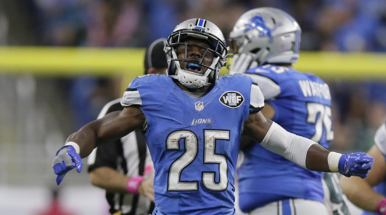 Detroit Lions running back Theo Riddick reacts after a play during the second half of an NFL football game against the Philadelphia Eagles, Sunday, Oct. 9, 2016, in Detroit. (AP Photo/Duane Burleson)