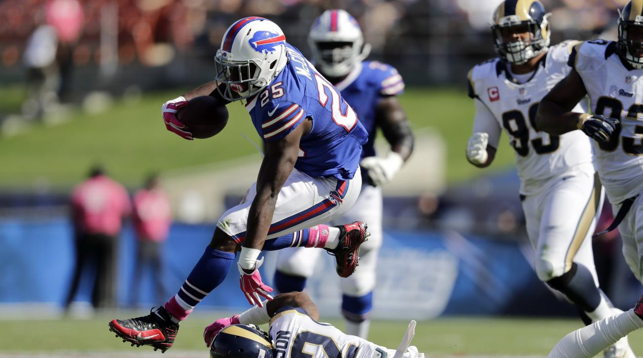 Buffalo Bills running back LeSean McCoy (25) runs past Los Angeles Rams cornerback Trumaine Johnson (22) during the first half of an NFL football game, Sunday, Oct. 9, 2016, in Los Angeles. (AP Photo/Jae C. Hong)