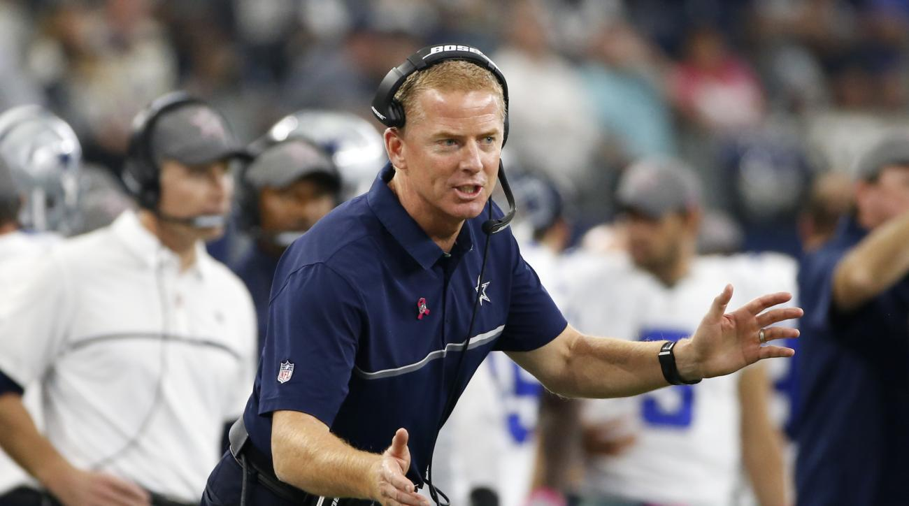 Dallas Cowboys head coach Jason Garrett shouts toward an official in the first half of an NFL football game against the Cincinnati Bengals on Sunday, Oct. 9, 2016, in Arlington, Texas. (AP Photo/Ron Jenkins)