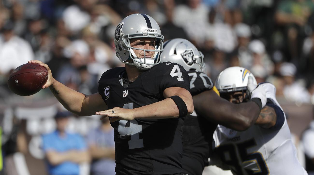 Oakland Raiders quarterback Derek Carr (4) passes against the San Diego Chargers during the second half of an NFL football game in Oakland, Calif., Sunday, Oct. 9, 2016. (AP Photo/Marcio Jose Sanchez)