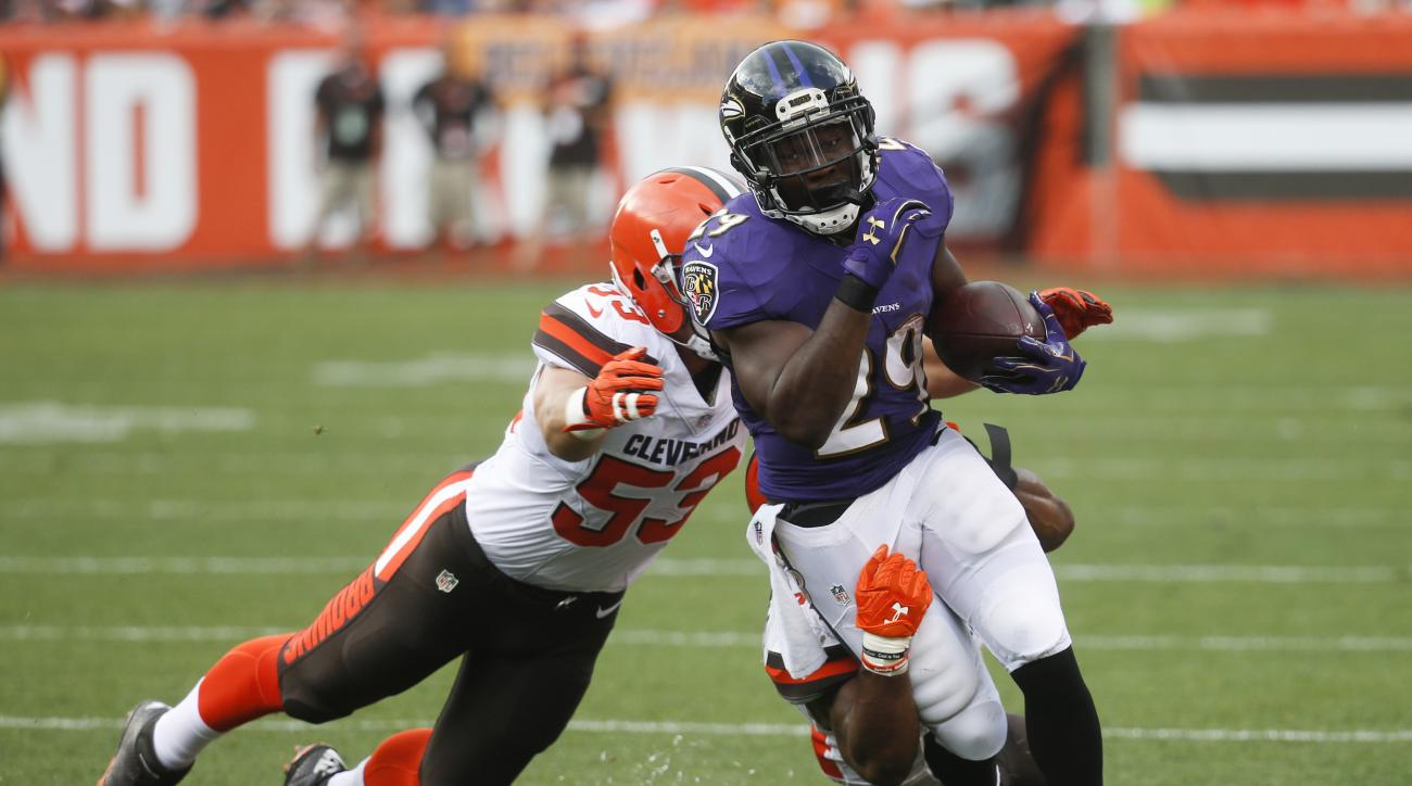 FILE - In this Sept. 18, 2016, file photo, Baltimore Ravens running back Justin Forsett (29) is tackled by Cleveland Browns strong safety Ibraheim Campbell, behind, and outside linebacker Joe Schobert (53) during an NFL football game in Cleveland. The Det