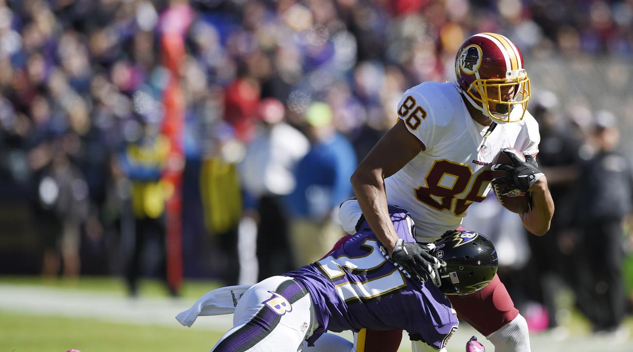In this photo taken Oct. 9, 2016, Washington Redskins' tight end Jordan Reed (86) tries to get past Baltimore Ravens' Lardarius Webb (21) during the first half of an NFL football game in Baltimore. Reed is being evaluated for a concussion, coach Jay Grude