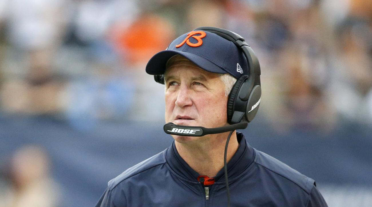 FILE - In this Oct. 2, 2016, file photo, Chicago Bears head coach John Fox watches the scoreboard during the first half of an NFL football game against the Detroit Lions, in Chicago. The Bears and Jacksonville Jaguars meet in a matchup between last-place