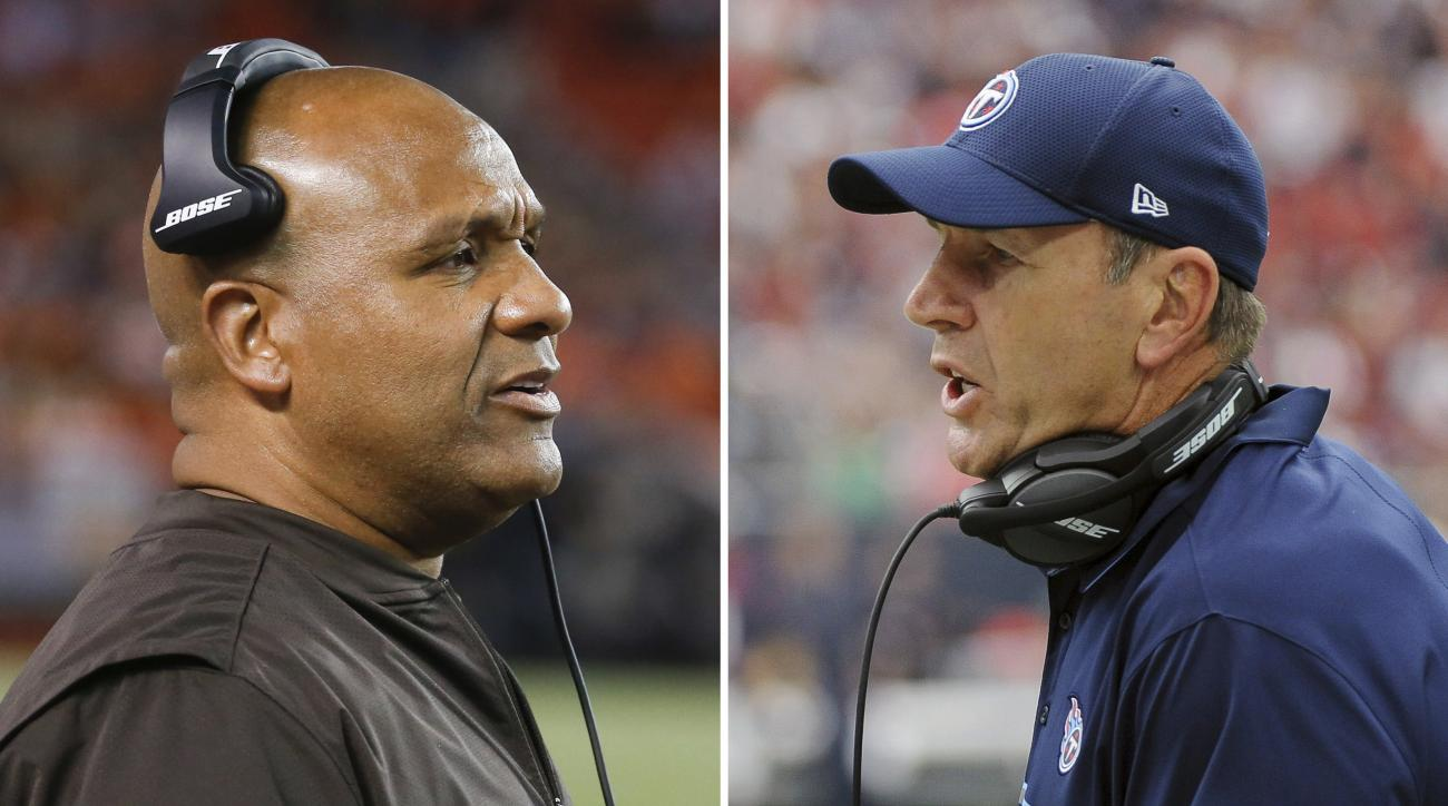 FILE - At left, in a Sept. 1, 2016, file photo, Cleveland Browns head coach Hue Jackson works the sidelines in the first half of an NFL preseason football game against the Chicago Bears, in Cleveland. At right, in an Oct. 2, 2016, file photo, Tennessee Ti