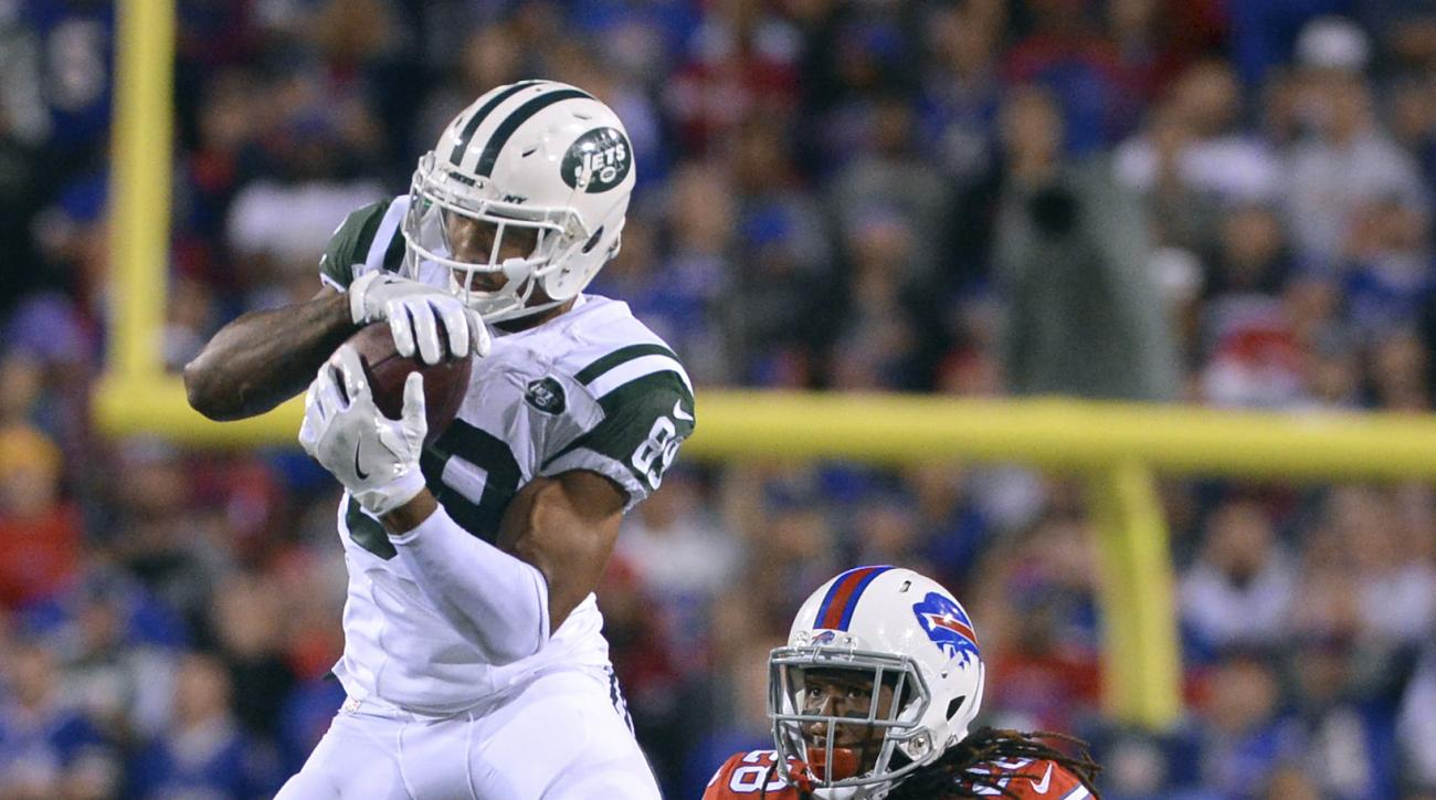FILE - In this Sept. 15, 2016, file photo, New York Jets wide receiver Jalin Marshall (89) makes a catch in front of Buffalo Bills cornerback Ronald Darby (28) during the second half of an NFL football game, in Orchard Park, N.Y. Brandon Marshall realizes