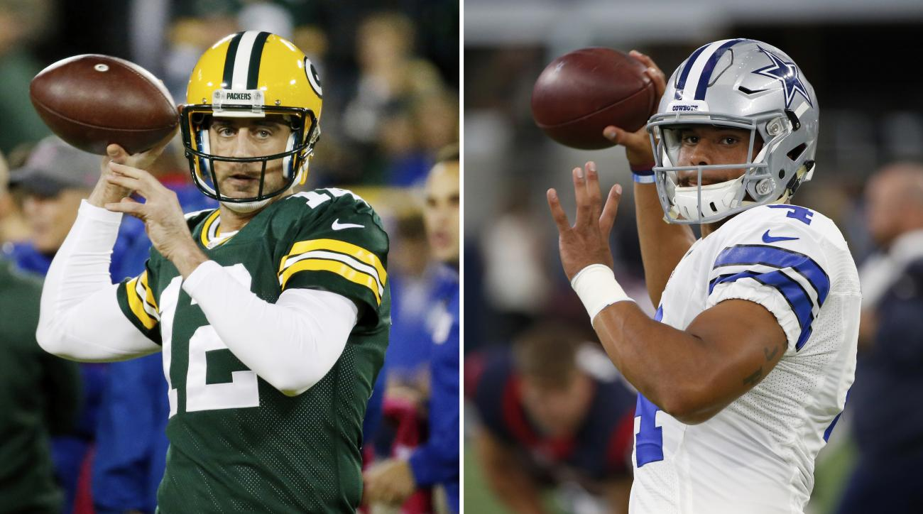 FILE - At left, in an Oct. 9, 2016, file photo, Green Bay Packers' Aaron Rodgers warms up before an NFL football game against the New York Giants, in Green Bay, Wis. At right, in a Sept. 1, 2016, file photo, Dallas Cowboys quarterback Dak Prescott throws