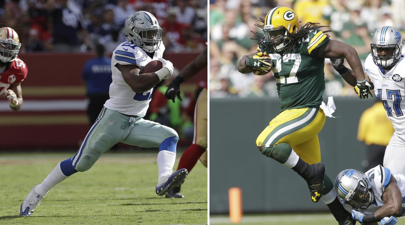 FILE - In this Oct. 2, 2016, file photo, Dallas Cowboys running back Ezekiel Elliott (21) runs against the San Francisco 49ers during the second half of an NFL football game in Santa Clara, Calif. At right, in a Sept. 25, 2016, file photo,  Green Bay Pack