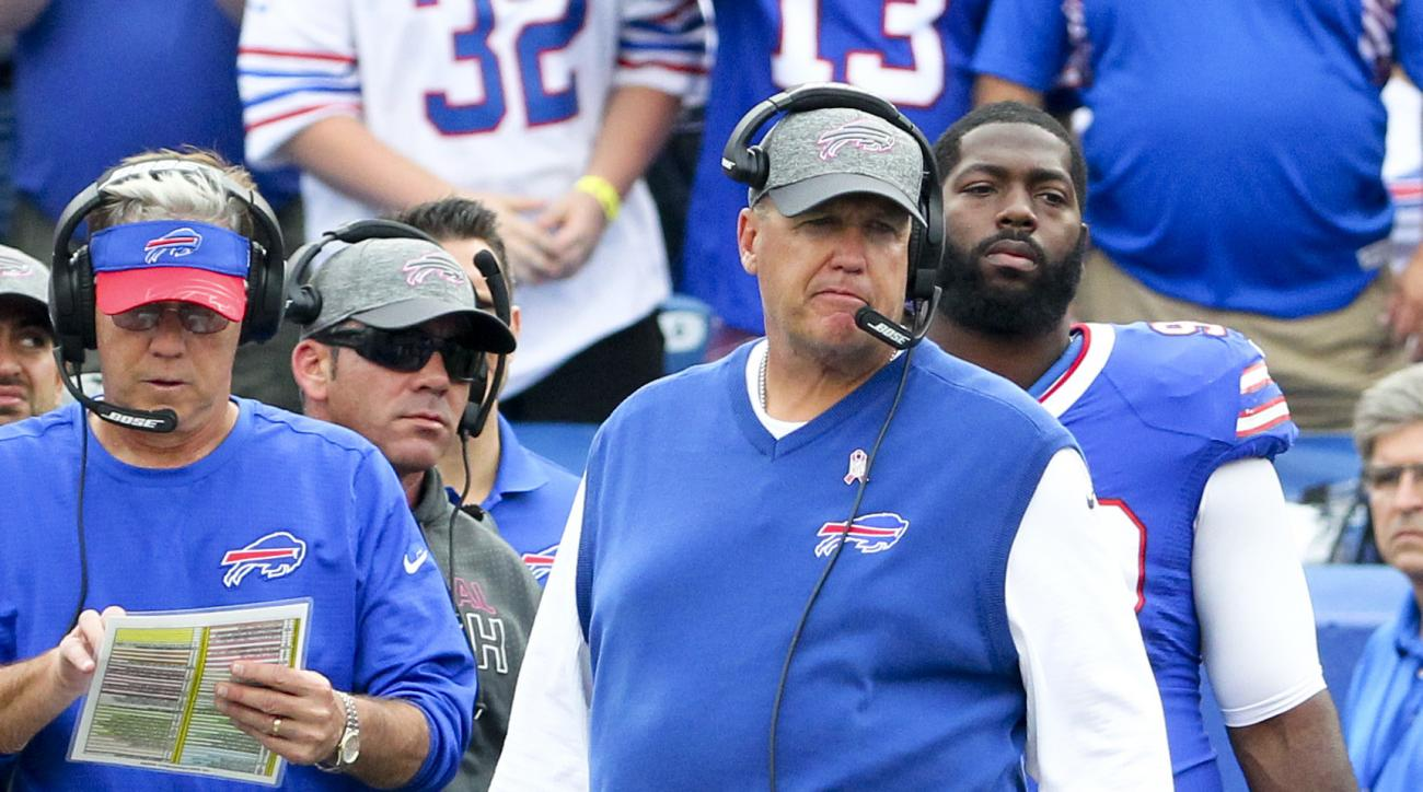 Buffalo Bills head coach Rex Ryan walks on the sideline during the first half of an NFL football game against the San Francisco 49ers, Sunday, Oct. 16, 2016, in Orchard Park, N.Y. (AP Photo/Bill Wippert)