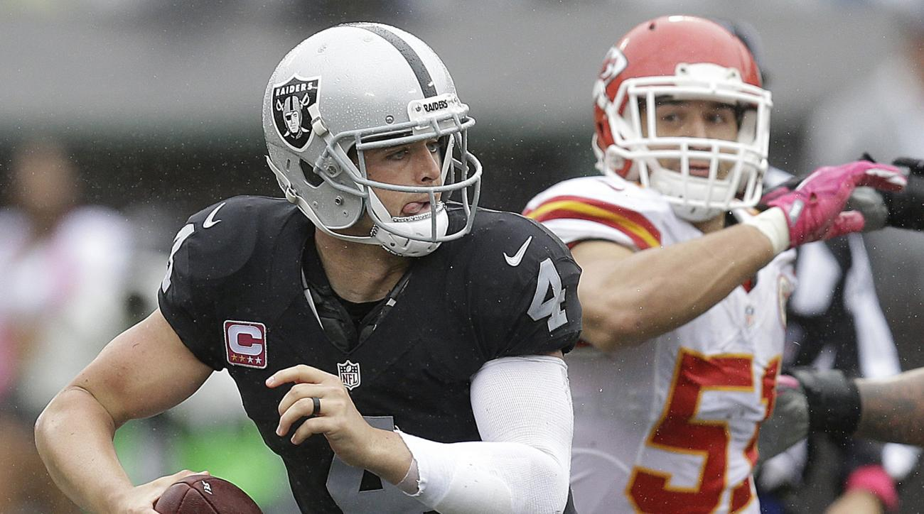 Oakland Raiders quarterback Derek Carr (4) scrambles away from Kansas City Chiefs linebacker Frank Zombo during the first half of an NFL football game in Oakland, Calif., Sunday, Oct. 16, 2016. (AP Photo/Ben Margot)