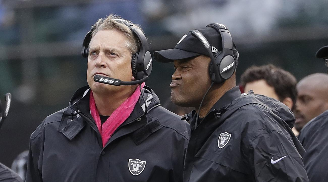 Oakland Raiders head coach Jack Del Rio, left, and defensive coordinator Ken Norton Jr. watch from the sideline during the second half of an NFL football game against the Kansas City Chiefs in Oakland, Calif., Sunday, Oct. 16, 2016. (AP Photo/Marcio Jose