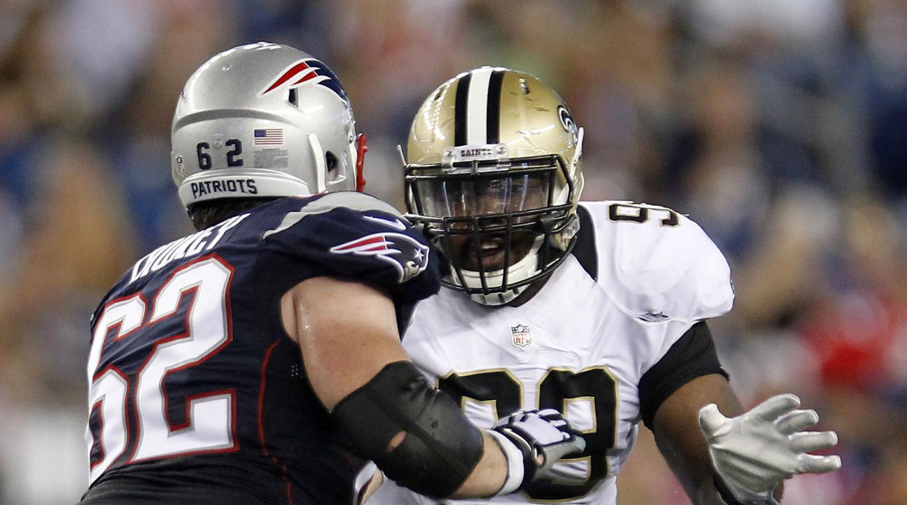 FILE - In this Aug. 11, 2016, file photo, New England Patriots guard Joe Thuney (62) blocks New Orleans Saints defensive tackle Sheldon Rankins (99) during the first half of a preseason NFL football game in Foxborough, Mass.  Rankins is a first-round pick