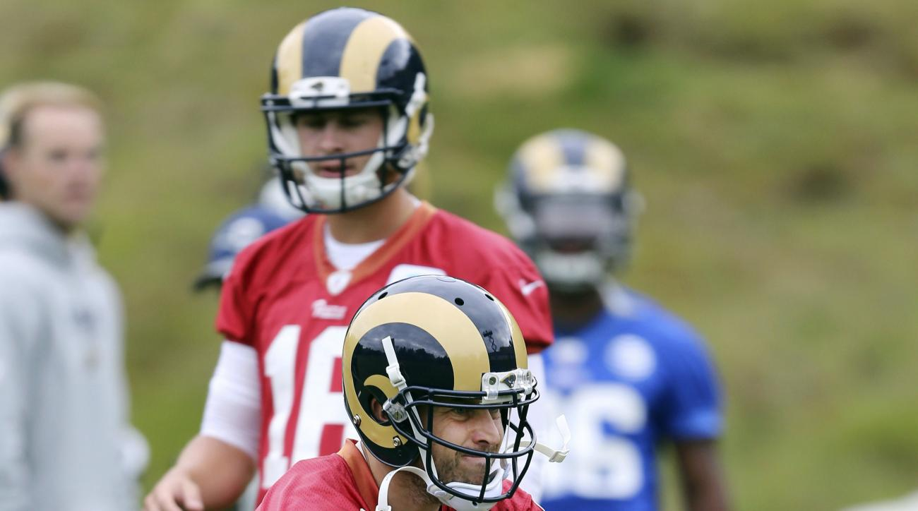 LA Rams quarterback Case Keenum attends a training session in Bagshot, England, Wednesday Oct. 19, 2016. The Los Angeles Rams are due to play the New York Jets at Twickenham stadium in London on Sunday in a regular season NFL game. (Sean Ryan/NFL via AP)