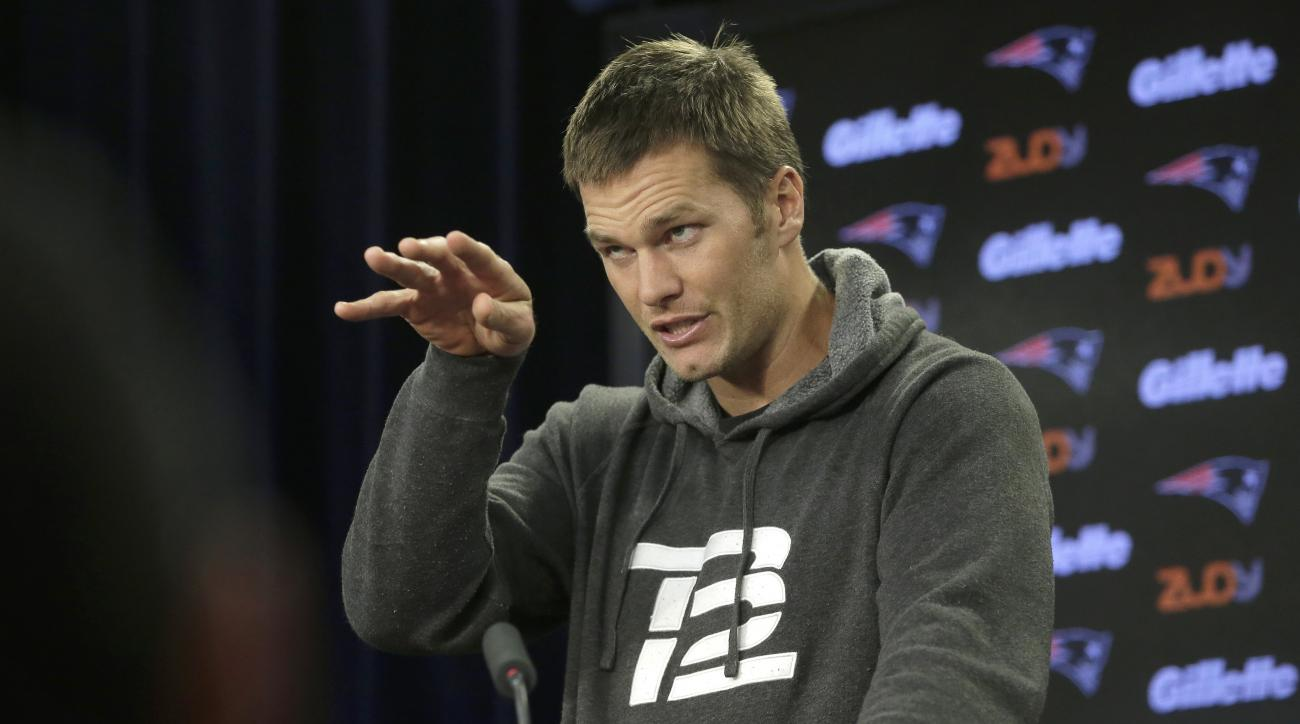 New England Patriots quarterback Tom Brady takes questions from reporters during a news conference before an NFL football practice Wednesday, Oct. 19, 2016, in Foxborough, Mass. (AP Photo/Steven Senne)