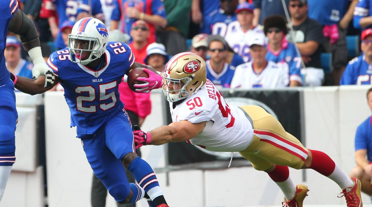 FILE - In this Oct. 16, 2016, file photo, Buffalo Bills running back LeSean McCoy (25) breaks away from San Francisco 49ers inside linebacker Nick Bellore (50) during the first half of an NFL football game in Orchard Park, N.Y. McCoy did not finish practi