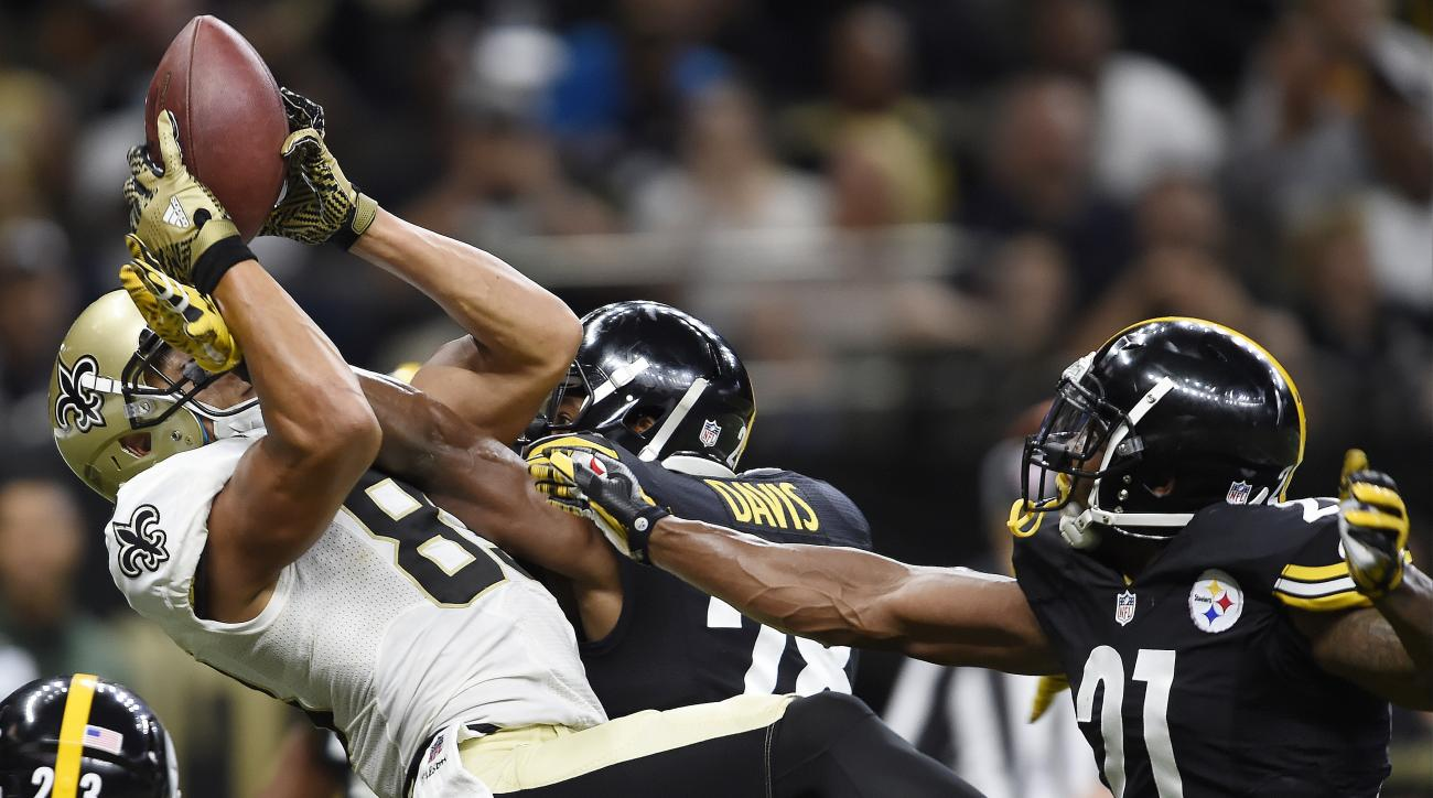 FILE - In this Aug. 26, 2016, file photo, New Orleans Saints wide receiver Willie Snead (83) makes a touchdown catch in the end zone against Pittsburgh Steelers safety Sean Davis (28) during the first half of an NFL preseason football game in  New Orleans