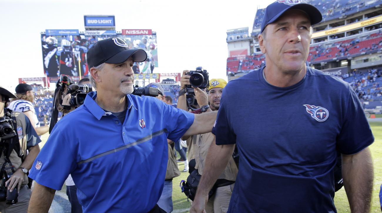 Indianapolis Colts head coach Chuck Pagano, left, meets Tennessee Titans head coach Mike Mularkey on the field after the Colts beat the Titans 34-26 in an NFL football game Sunday, Oct. 23, 2016, in Nashville, Tenn. (AP Photo/James Kenney)