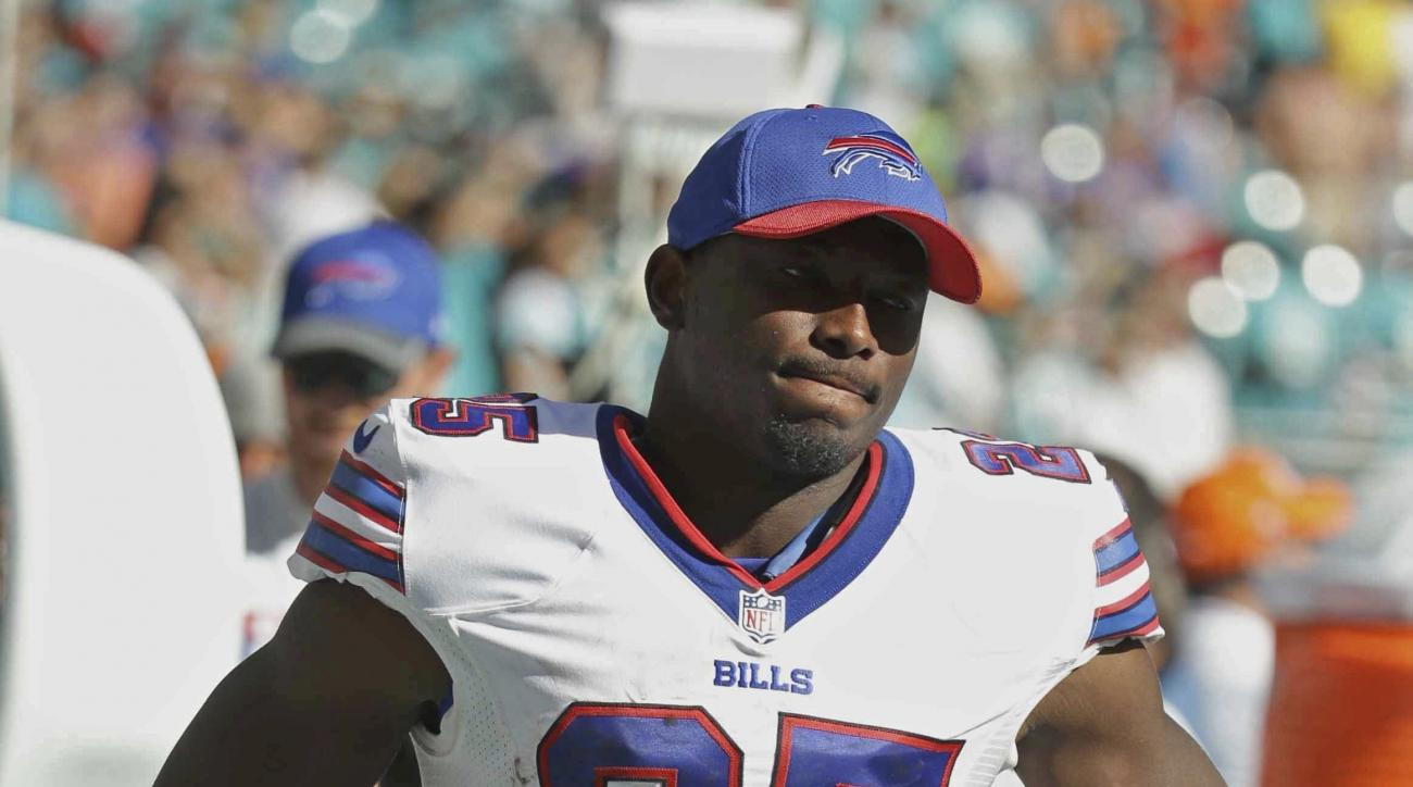 Buffalo Bills running back LeSean McCoy (25) watches the game from the sidelines, during the second half of an NFL football game against the Miami Dolphins, Sunday, Oct. 23, 2016, in Miami Gardens, Fla. McCoy was held to 11 yards and had to leave during t
