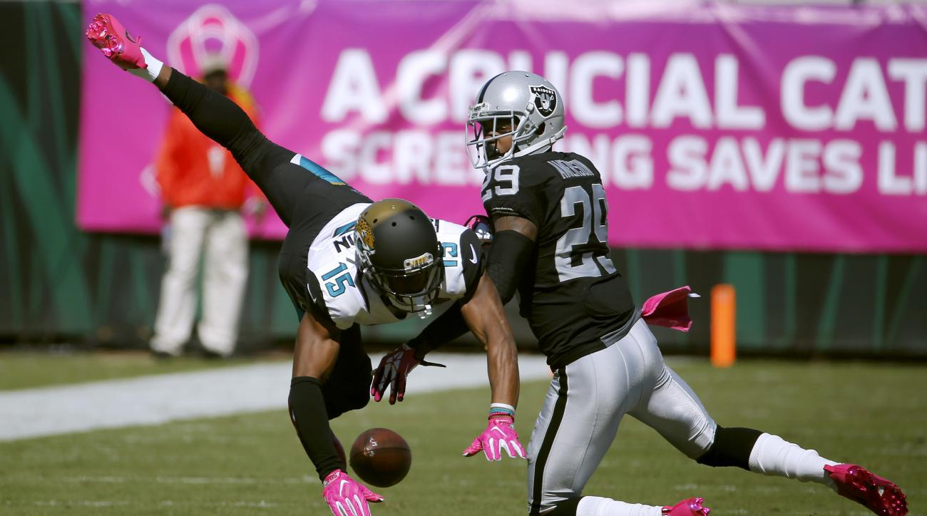 Oakland Raiders cornerback David Amerson (29) interferes with Jacksonville Jaguars wide receiver Allen Robinson (15) on a pass attempt during the second quarter of an NFL football game Sunday, Oct. 23, 2016, in Jacksonville, Fla. Amerson was called for a
