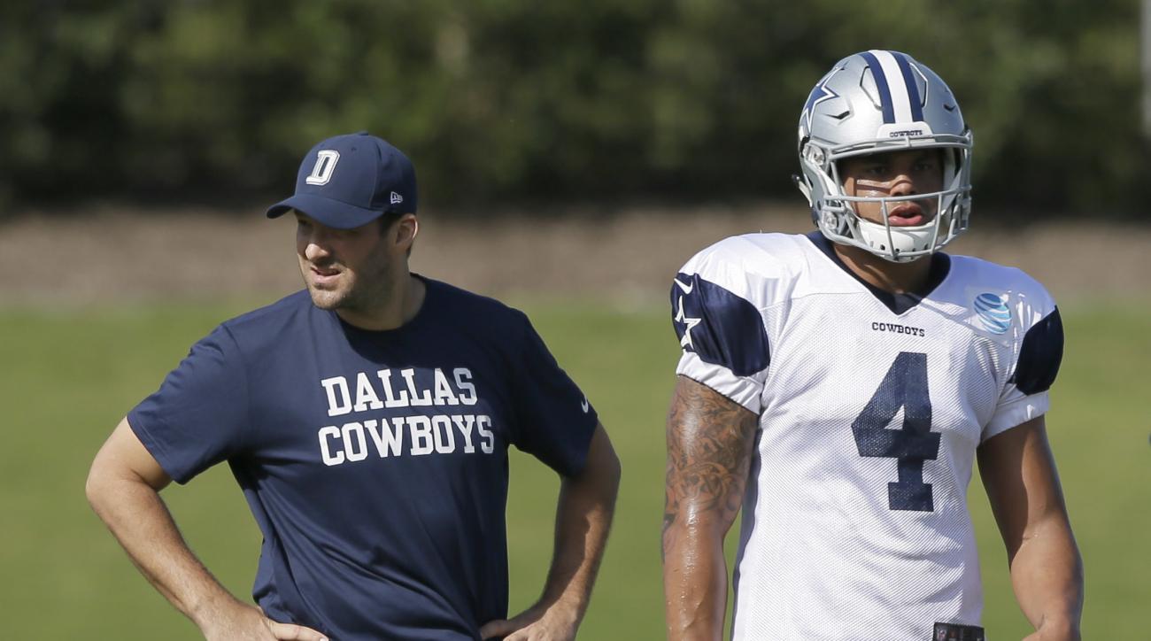 Dallas Cowboys quarterback Tony Romo, left, stretches as fellow quarterback Dak Prescott prepares to run a drill during NFL football practice at the team's facility in Frisco, Texas, Wednesday, Oct. 26, 2016. (AP Photo/LM Otero)