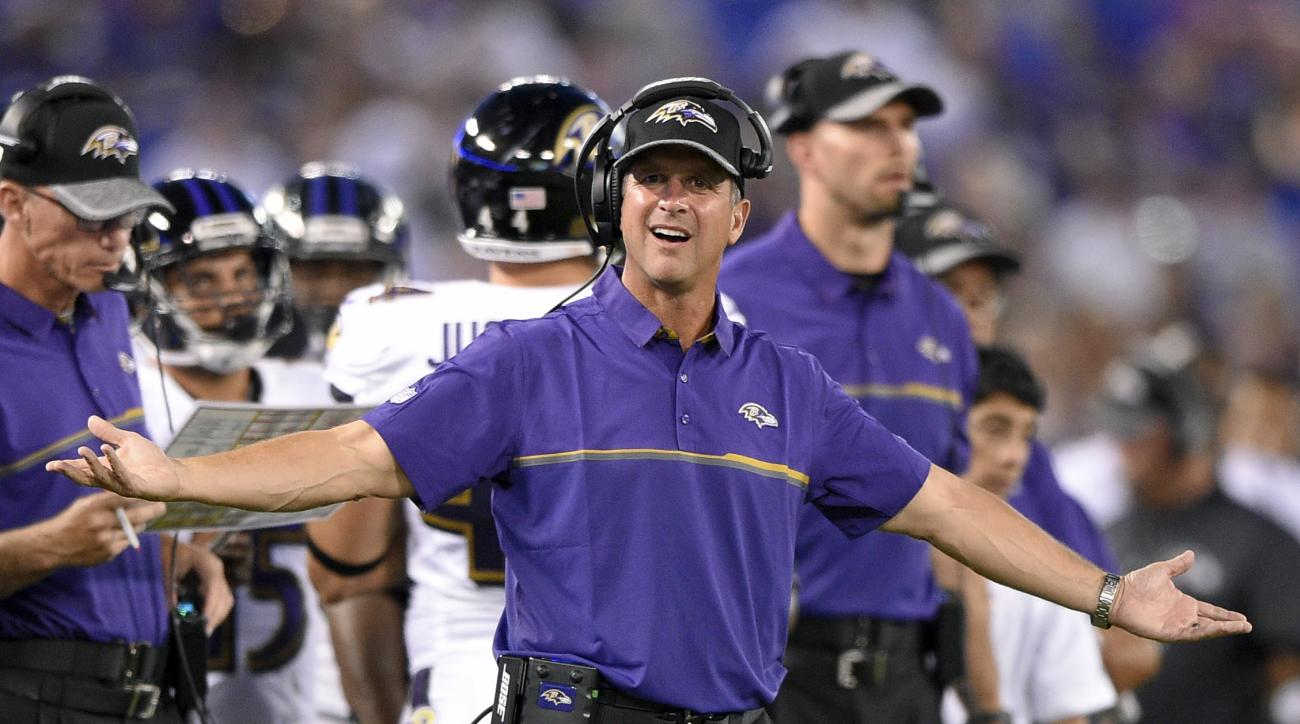 FILE - In this Aug. 27, 2016, file photo, Baltimore Ravens head coach John Harbaugh gestures on the sideline in the first half of a preseason NFL football game against the Detroit Lions,in Baltimore. The Ravens figured their miserable 2015 season was mere