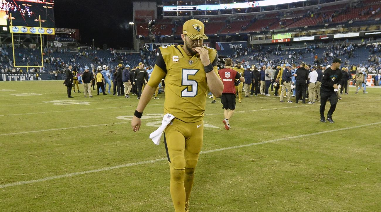 Jacksonville Jaguars quarterback Blake Bortles walks off the field after an NFL football game against the Tennessee Titans Thursday, Oct. 27, 2016, in Nashville, Tenn. The Titans won 36-22. (AP Photo/Mark Zaleski)