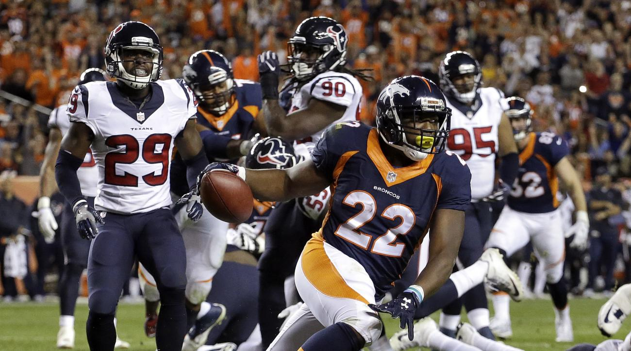 FILE - In this Monday, Oct. 24, 2016, file photo, Denver Broncos running back C.J. Anderson (22) scores a touchdown against the Houston Texans during the first half of an NFL football game in Denver. Anderson tweeted early Friday, Oct. 28, 2016, that his