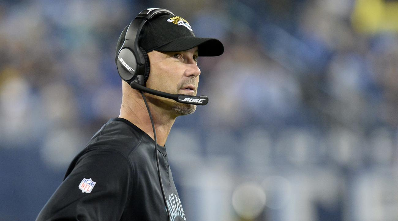 FILE - In this Thursday, Oct. 27, 2016, file photo, Jacksonville Jaguars head coach Gus Bradley watches from the sideline during the second half of an NFL football game against the Tennessee Titans in Nashville, Tenn. Bradley reached a new low point in on