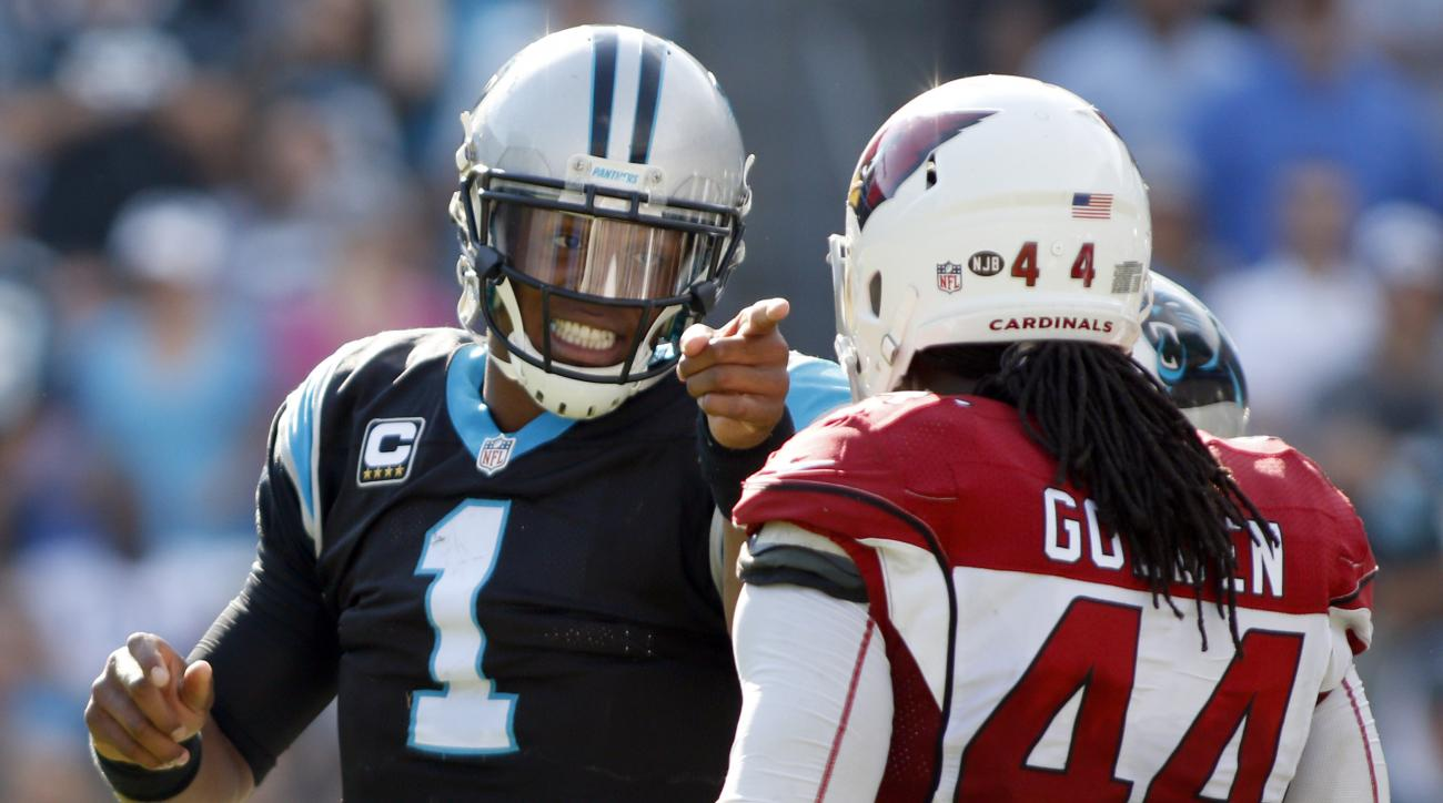 Carolina Panthers' Cam Newton (1) objects to a late hit by Arizona Cardinals' Markus Golden (44) in the second half of an NFL football game in Charlotte, N.C., Sunday, Oct. 30, 2016. (AP Photo/Bob Leverone)
