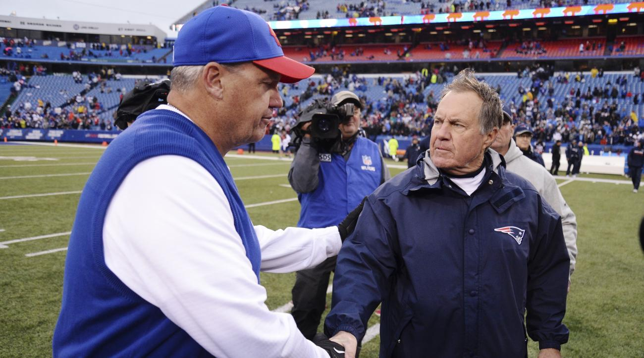 Buffalo Bills head coach Rex Ryan, left, shakes hands with New England Patriots head coach Bill Belichick, right, after an NFL football game Sunday, Oct. 30, 2016, in Orchard Park, N.Y. The Patriots win 41-25. (AP Photo/Adrian Kraus)