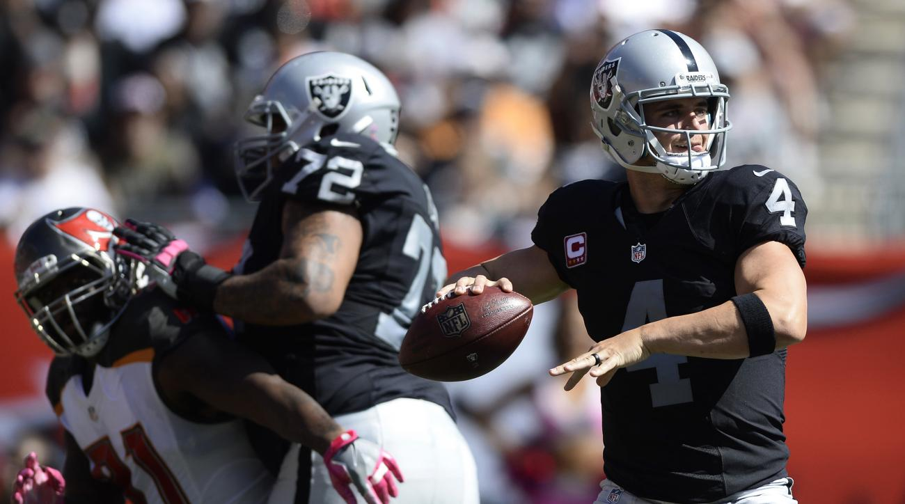 FILE - In this Oct. 30, 2016, file photo, Oakland Raiders quarterback Derek Carr (4) throws a pass against the Tampa Bay Buccaneers during the fourth quarter of an NFL football game in Tampa, Fla. In his third season as a pro, Carr has made significant st
