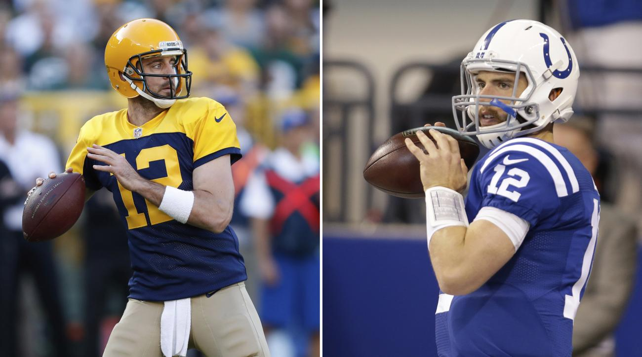 FILE - At left, in a Sunday, Oct.16, 2016, file photo, Green Bay Packers' Aaron Rodgers throws during the first half of an NFL football game against the Dallas Cowboys, in Green Bay, Wis. At right, in an Oct. 30, 2016, file photo, Indianapolis Colts quart