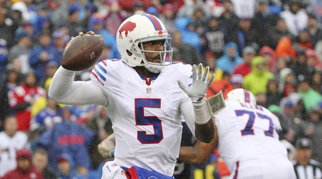 FILE - In this Oct. 30, 2016, file photo, Buffalo Bills quarterback Tyrod Taylor (5) throws a pass during the first half of an NFL football game against the New England Patriots in Orchard Park, N.Y. The Seattle Seahawks are looking to start another secon