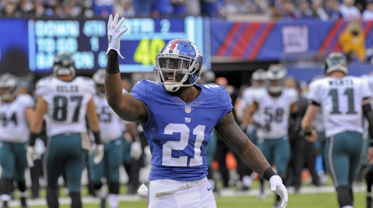 New York Giants strong safety Landon Collins (21) reacts after a defensive play against the Philadelphia Eagles during the second quarter of an NFL football game, Sunday, Nov. 6, 2016, in East Rutherford, N.J. (AP Photo/Bill Kostroun)