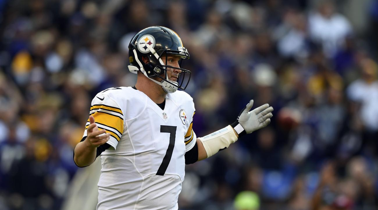 Pittsburgh Steelers quarterback Ben Roethlisberger gestures after not being able to convert for a first down in the second half of an NFL football game against the Baltimore Ravens, Sunday, Nov. 6, 2016, in Baltimore. (AP Photo/Gail Burton)
