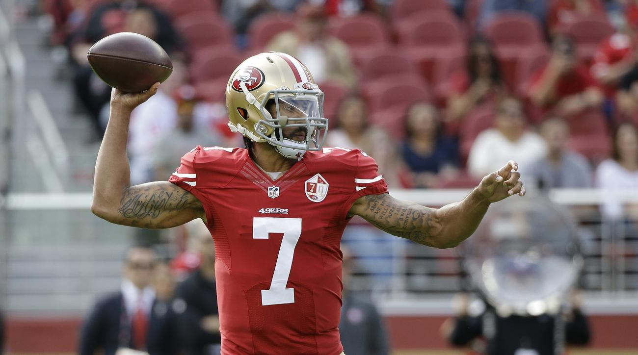 San Francisco 49ers quarterback Colin Kaepernick looks to throw during the first half of an NFL football game against the New Orleans Saints Sunday, Nov. 6, 2016, in Santa Clara, Calif. (AP Photo/Tony Avelar)