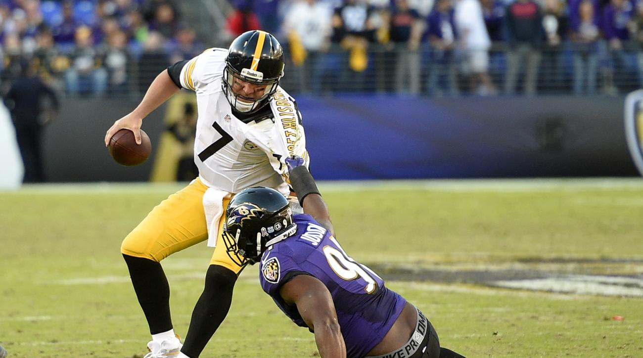 Pittsburgh Steelers quarterback Ben Roethlisberger, left, is sacked by Baltimore Ravens linebacker Matt Judon in the second half of an NFL football game, Sunday, Nov. 6, 2016, in Baltimore. (AP Photo/Nick Wass)