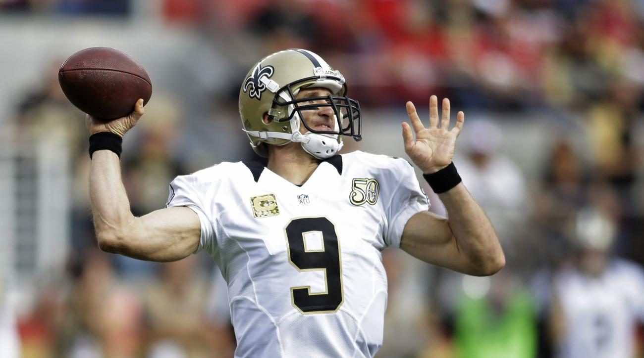 New Orleans Saints quarterback Drew Brees throws the ball during the first half of an NFL football game against the San Francisco 49ers, Sunday, Nov. 6, 2016, in Santa Clara, Calif. (AP Photo/D. Ross Cameron)