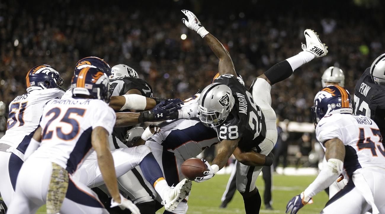 Oakland Raiders running back Latavius Murray (28) runs for a touchdown against the Denver Broncos during the first half of an NFL football game in Oakland, Calif., Sunday, Nov. 6, 2016. (AP Photo/Ben Margot)