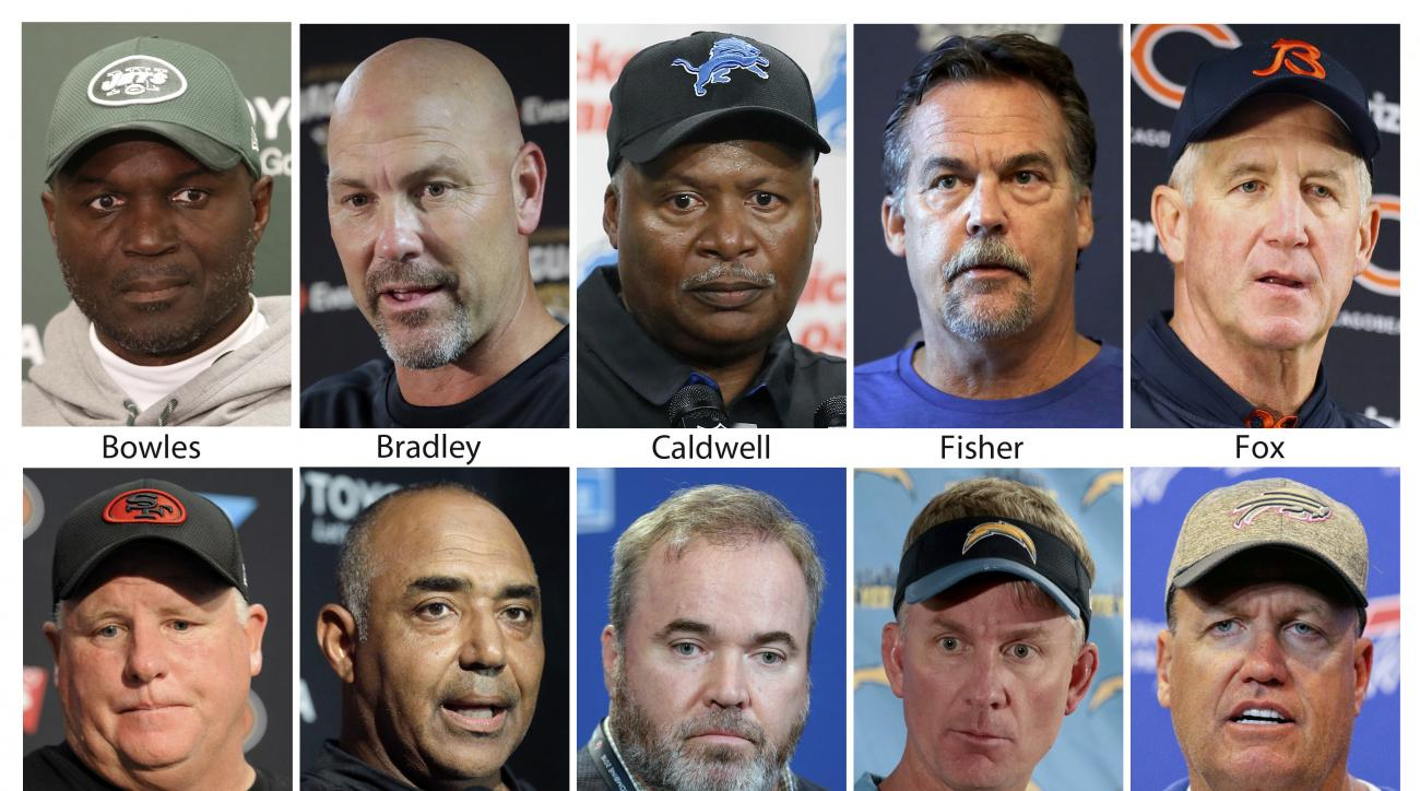 FILE - These are 2016 file photos showing NFL football coaches Todd Bowles, Gus Bradley, Jim Caldwell, Jeff Fisher, John Fox, Chip Kelly, Marvin Lewis, Mike McCarthy, Mike McCoy and Rex Ryan. Weve already seen a lot of NFL assistants lose their jobs, and