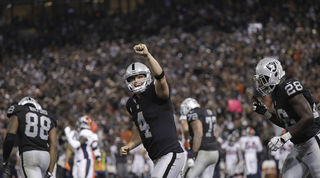 FILE - In this Nov. 6, 2016, file photo, Oakland Raiders quarterback Derek Carr (4) celebrates after a touchdown run by Latavius Murray during the second half of an NFL football game against the Denver Broncos in Oakland, Calif. The Raiders are seeking th