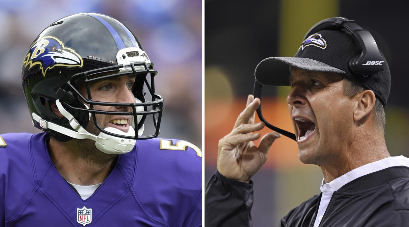 FILE - At left, in an Oct. 2, 2016, file photo, Baltimore Ravens quarterback Joe Flacco looks for a receiver in the first half of an NFL football game against the Oakland Raiders, in Baltimore. At right, in an Aug. 20, 2016, file photo, Ravens coach John