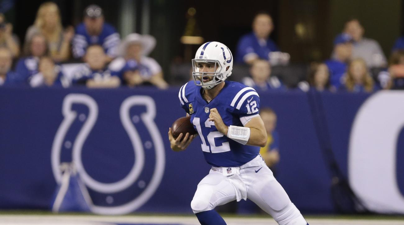 FILE - In this Oct. 30, 2016, file photo, Indianapolis Colts quarterback Andrew Luck (12) runs during the first half of an NFL football game against the Kansas City Chiefs, in Indianapolis. Rather than take their bye week immediately after playing in Lond