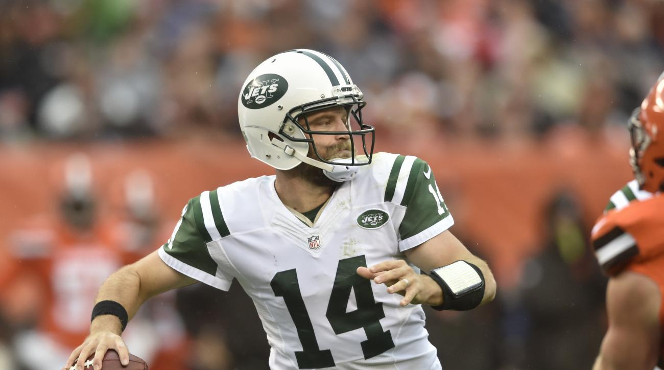 FILE - In this Oct. 30, 2016, file photo, New York Jets quarterback Ryan Fitzpatrick looks to pass in the first half of an NFL football game against the Cleveland Browns in Cleveland. Ryan Fitzpatrick knows exactly what Case Keenum is going through. They'