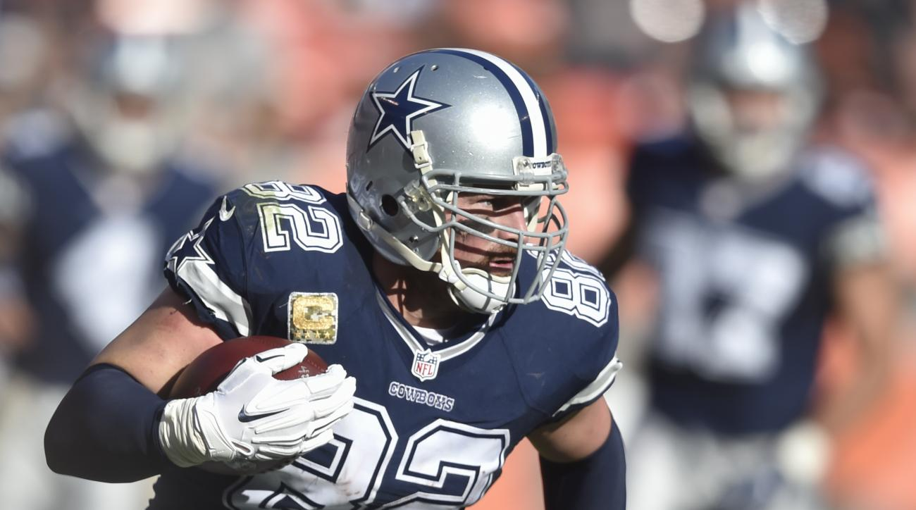FILE - In this Sunday, Nov. 6, 2016, file photo, Dallas Cowboys tight end Jason Witten carries during the team's NFL football game against the Cleveland Browns in Cleveland. Off the field and on, Wittens 14th NFL season has been a showcase of his leadersh