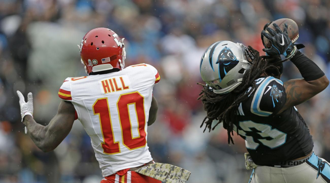Carolina Panthers' Tre Boston (33) intercepts a pass intended for Kansas City Chiefs' Tyreek Hill (10) in the first half of an NFL football game in Charlotte, N.C., Sunday, Nov. 13, 2016. (AP Photo/Bob Leverone)
