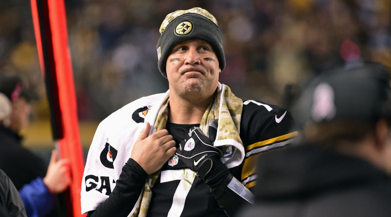 Pittsburgh Steelers quarterback Ben Roethlisberger looks at the scoreboard on the sidelines during the first half of an NFL football game against the Dallas Cowboys in Pittsburgh, Sunday, Nov. 13, 2016. (AP Photo/Fred Vuich)