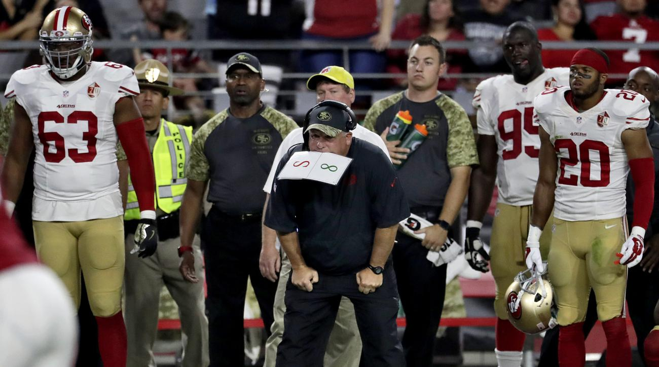 San Francisco 49ers head coach Chip Kelly and his bench watch as the Arizona Cardinals kick a game winning field goal during the second half of an NFL football game, Sunday, Nov. 13, 2016, in Glendale, Ariz. The Cardinals won 23-20. (AP Photo/Rick Scuteri