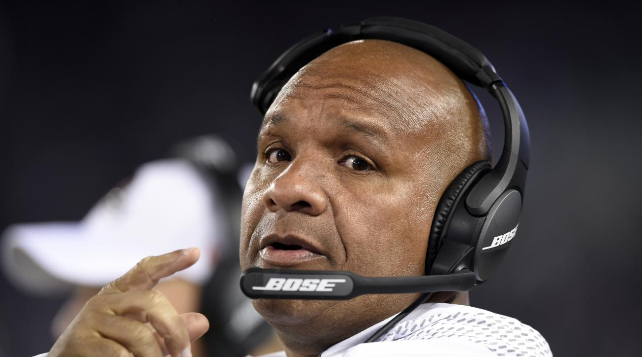 This Nov. 10, 2016 photo shows Cleveland Browns head coach Hue Jackson standing on the sideline in the second half an NFL football gameagainst the Baltimore Ravens in Baltimore. Sashi Brown, the teams vice president of football operations, said Monday, No