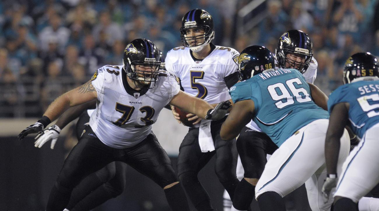 FILe - In this Monday, Oct. 24, 2011, file photo, Baltimore Ravens offensive guard Marshal Yanda (73), left, blocks against Jacksonville Jaguars defensive tackle Terrance Knighton (96) during an NFL football game in Jacksonville, Fla. The Ravens' ever-cha